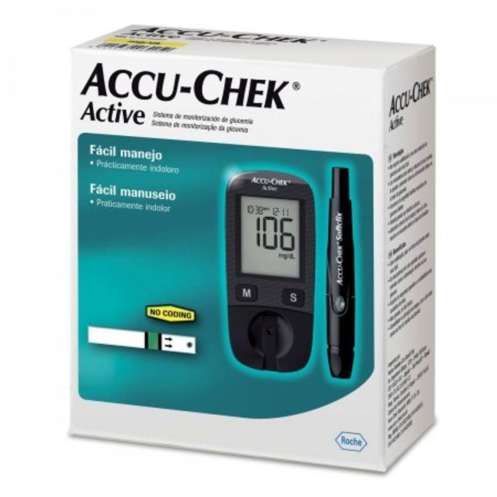 Accu-Chek-Active-Kit-Monitor-De-Glicemia-Com-1-Monitor---10-Tiras-Teste---1-Lancetador---10-Lancetas