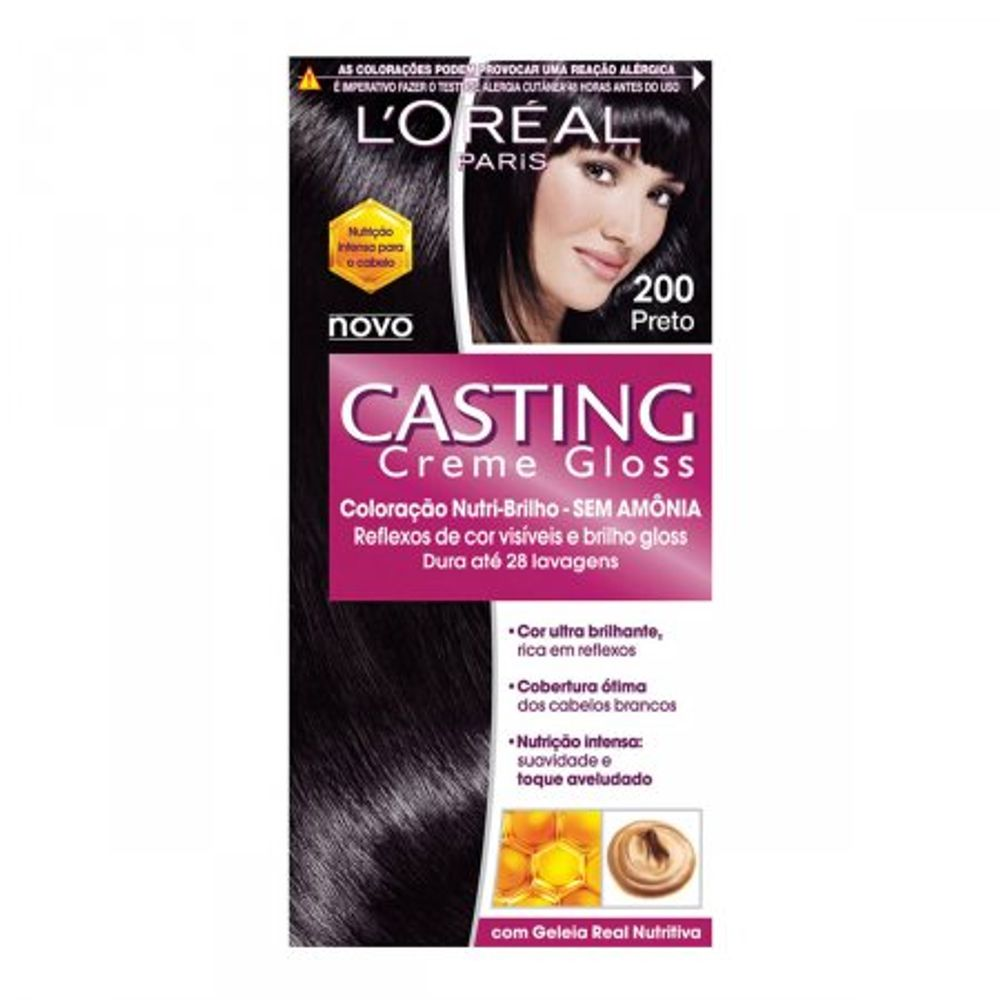 Tintura-Creme-Casting-Creme-Gloss-L-Oreal-Preto-200--Oreal-Preto-200-Kit