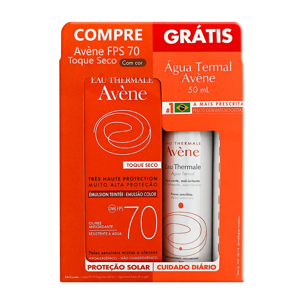 KIT_PROTETOR_SOLAR_-FACIAL_AVENE_TOQUE_SECO_COM_COR_FPS70_50_ML_COM_AGUA_TERMAL_AVENE_50ML