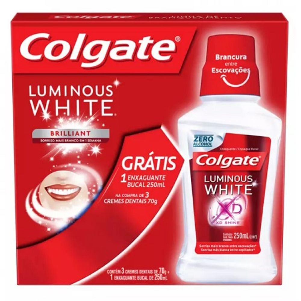 Creme-Dental-Colgate-Luminous-Com-90-Gramas-Contem-3-Unidades-Gratis-Enxaguante-Bucal-Luminous-White-Com-250-Ml